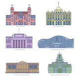 Monuments thin line vector icons. Amsterdam state museum, Somerset House, The National Art Center, State Hermitage Museum, National Folk Museum of Korea Stock Photo