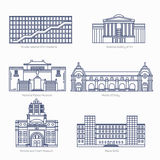 Monuments thin line vector icons. National Gallery of Art, National Palace Museum, Orsay. Victoria and Albert Museum, Sofia. Famous world museums. Eps 10 Stock Photos