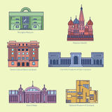 Monuments thin line vector icons. Shanghai museum, Moscow Kremlin, Bank of Brazil Cultural Center, Fine Arts Museums of San Francisco, Grand Palais, National Stock Image
