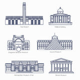 Monuments thin line vector icons.  Royalty Free Stock Image