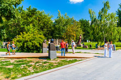 Monuments to the communist leaders in Museon park of Moscow Royalty Free Stock Image