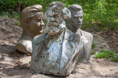 A monuments to Karl Marx and other communist leadersas, thrown out a result of decommunization Stock Photos
