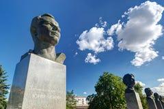 Monuments to Yuri Gagarin on the Cosmonauts Alley. Monuments to Yuri Gagarin (foreground) and other russian astronauts on the Cosmonauts Alley in Moscow Stock Photo