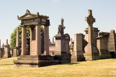 Monuments and tombstones at the Glasgow Necropolis Royalty Free Stock Photo