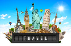 Monuments of the world on a airport billboard panel Royalty Free Stock Images