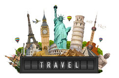 Monuments of the world on a airport billboard panel Royalty Free Stock Image