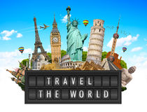 Monuments of the world on a airport billboard panel Royalty Free Stock Photos