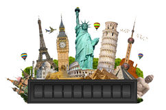 Monuments of the world on a airport billboard panel Stock Photo