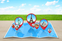 Monuments of the world on a map. Famous monuments of the world grouped together on a map with pin icon Royalty Free Stock Images