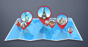 Monuments of the world on a map Royalty Free Stock Image