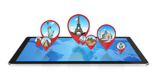 Monuments of the world on a modern tablet Royalty Free Stock Images