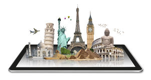 Monuments of the world on a tactile tablet Stock Photos