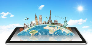 Monuments of the world on a tactile tablet Stock Photo