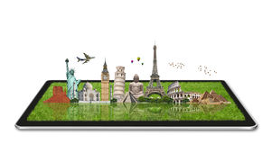 Monuments of the world on a tactile tablet Royalty Free Stock Photo
