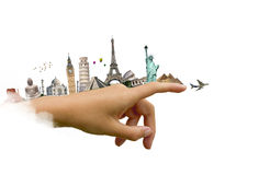 Monuments of the world on a woman hand Stock Photos