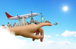 Monuments of the world on a woman hand Royalty Free Stock Images