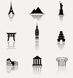 Monumentsymbolsuppsättning Arkivfoto
