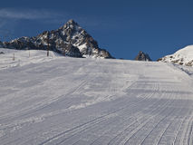 Monviso. Ski slope with Crissolo Monviso to dominate the landscape Stock Image