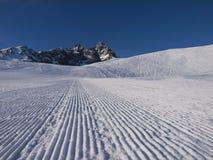 Monviso. Ski slope with Crissolo Monviso to dominate the landscape Stock Photo