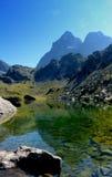 Monviso reflekterade i den gröna sjön Piedmont Italien royaltyfri fotografi