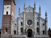 Monza Cathedral. Monza is known for its Romanesque-Gothic style Cathedral of Saint John. The black and-white marble arcaded facade was erected in the mid-14th Royalty Free Stock Images
