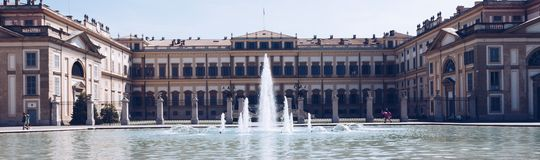 Monza ITALY JULY 2018 Frontal view of the Real palace with fountain. royalty free stock image