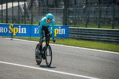 Monza, Italy May 28, 2017: Professional cyclist, Astana Pro TEAM, during the last time trial stage of the Tour of Italy 2017. With a lap of the Formula 1 Royalty Free Stock Photo
