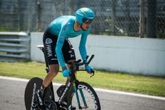 Monza, Italy May 28, 2017: Professional cyclist, Astana Pro TEAM, during the last time trial stage of the Tour of Italy 2017. With a lap of the Formula 1 Stock Photo