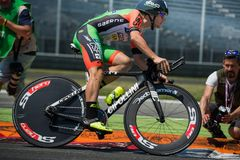 Monza, Italy May 28, 2017: Professional cyclist, Bardiani CSF TEAM, during the last time trial stage of the Tour of Italy 2017. With a lap of the Formula 1 Stock Photos