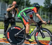Monza, Italy May 28, 2017: Professional cyclist, Bardiani CSF TEAM, during the last time trial stage of the Tour of Italy 2017. With a lap of the Formula 1 Stock Images