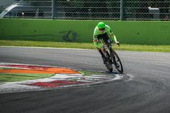 Monza, Italy May 28, 2017: Professional cyclist, Cannondale Team, during the last time trial stage of the Tour of Italy 2017 Royalty Free Stock Photography