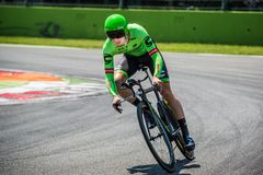 Monza, Italy May 28, 2017: Professional cyclist, Cannondale Team, during the last time trial stage of the Tour of Italy 2017 Royalty Free Stock Image