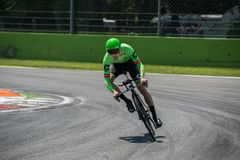 Monza, Italy May 28, 2017: Professional cyclist, Cannondale Team, during the last time trial stage of the Tour of Italy 2017 Stock Photo