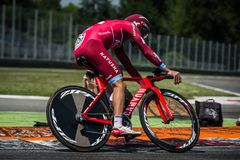 Monza, Italy May 28, 2017: Professional cyclist, Katusha Team, during the last time trial stage of the Tour of Italy 2017. With a lap of the Formula 1 circuit Royalty Free Stock Photos