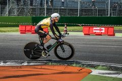 Monza, Italy May 28, 2017: Professional cyclist, Lotto TEAM, during the last time trial stage of the Tour of Italy 2017. With a lap of the Formula 1 circuit of Royalty Free Stock Photography
