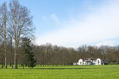 Monza Park (Italy). Old white villa in the Monza Park (Milan, Lombardy, Italy) at early spring Royalty Free Stock Images