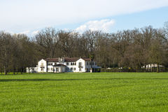 Monza Park (Italy). Old white villa in the Monza Park (Milan, Lombardy, Italy) at early spring Stock Photo