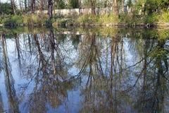 Monza parkerar: Lambro flod Arkivfoto
