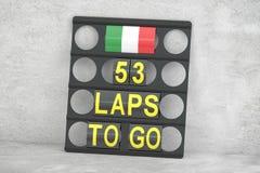 Monza que compite con, tablero del hoyo con la bandera de Italia, representación 3D Imagen de archivo libre de regalías