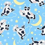 Moo Cows bij nacht naadloos patroon Stock Fotografie