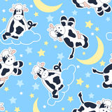 Moo Cows at night seamless pattern Stock Photography