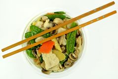 Moo Goo Gai Pan. In a bowl with chop sticks Royalty Free Stock Image