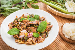 Moo Nam Tok, Spicy grilled pork salad and sticky rice (Thai food Royalty Free Stock Photography