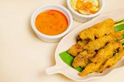 MOO satay, porc satay, cuisine thaïe Image libre de droits