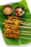 MOO satay, porco satay, cucina tailandese Fotografia Stock Libera da Diritti