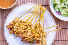 Moo satay, pork satay, thai cuisine Royalty Free Stock Image
