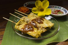 Moo satay, pork satay, thai cuisine Royalty Free Stock Photo
