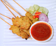 Moo satay, pork satay, thai cuisine,thai food. Stock Photo
