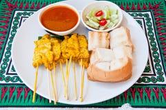 MOO tailandese squisito SATAE di chiamata dell'alimento Fotografia Stock