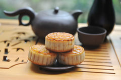 Moocakes with teaset Royalty Free Stock Images